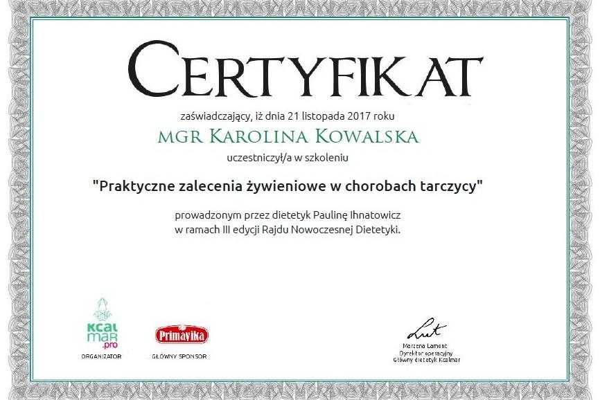 certyfikat dietetyk czerwińsk